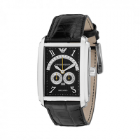 Meccaniko Chronograph Black With Black Leather Strap AR4204