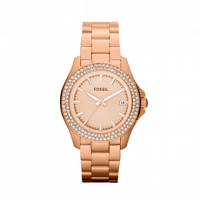 FOSSIL Traveler Crystals Rose Gold Stainless Steel Bracelet AM4454